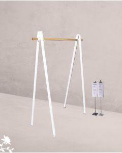 Konfektionsständer V-Form - Bügelstange aus Holz - Weiß