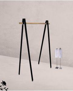 Konfektionsständer V-Form - Bügelstange aus Holz - Schwarz