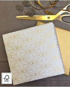Gavepapir guld/creme - B 50 cm