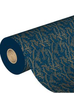 Julepapir m/ guld grene, mørkeblå - B 70 cm.