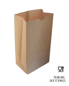 Papirpose m/ klodsbund, natur. H43,5 cm