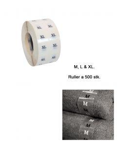 Größenaufkleber transparent, Buchstaben - 500 stk. pr.rl.
