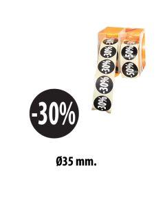 """Schwarze Etiketts mit Prozent - 500 Stk. """"-30%"""""""