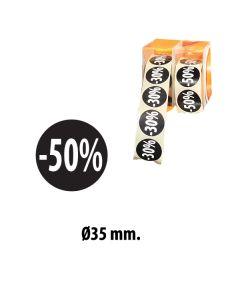 """Schwarze Etiketts mit Prozent - 500 Stk. """"-50%"""""""