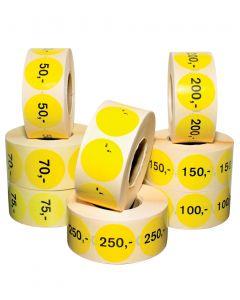 Gelbe Etiketten mit festem Betrag- 1.000 stk.