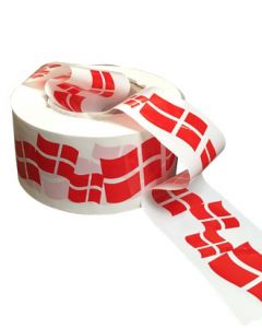 Afspærringsbånd - Hvidt m/ dansk flag - 250 mtr.