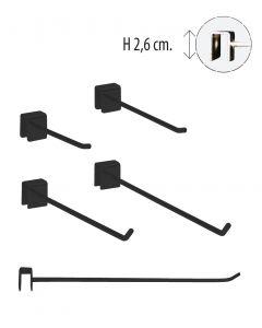 Einzelhaken - 12 mm. Dekostange - Schwarz